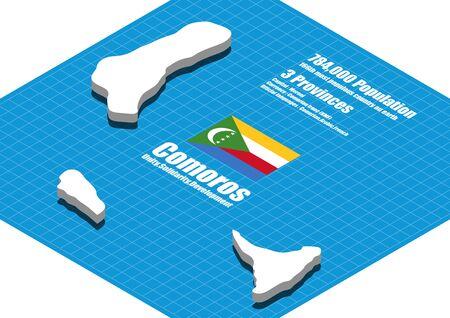 comoros: Comoros map vector three dimensional Illustration