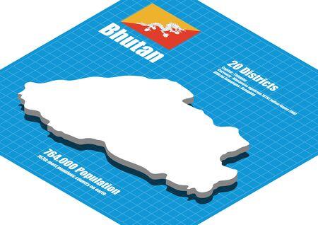 Bhutan map vector three dimensional