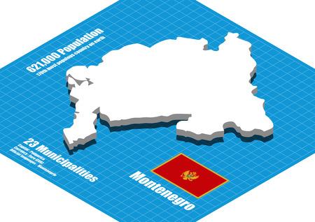 Montenegro map vector three dimensional Illustration