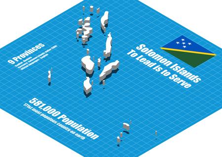 solomon: Solomon Islands map vector three dimensional