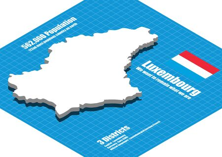 luxembourg: Luxembourg map vector three dimensional Illustration