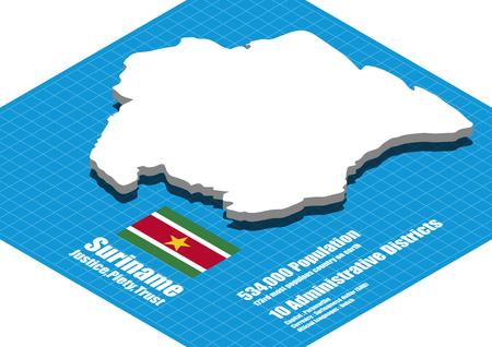 suriname: Suriname map vector three dimensional
