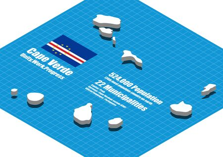 cape verde: Cape Verde map vector three dimensional