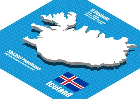 iceland: Iceland map vector three dimensional Illustration