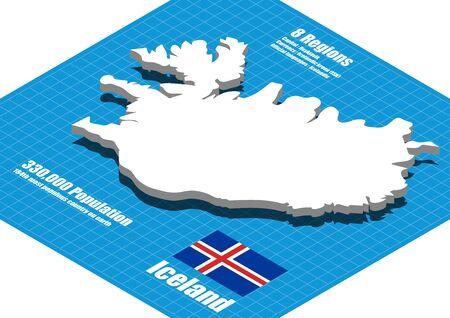 three dimensional: Iceland map vector three dimensional Illustration