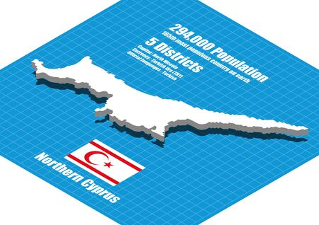 motto: Northern Cyprus map vector three dimensional Illustration