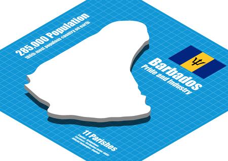 barbados: Barbados map vector three dimensional