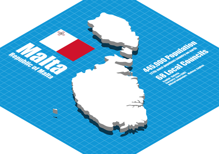 malta: Malta map vector three dimensional Illustration