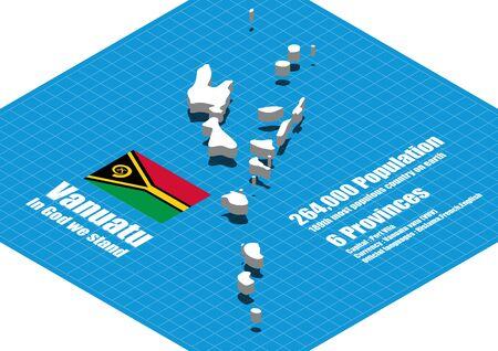 campestre: Vanuatu mapa vectorial tridimensional Vectores