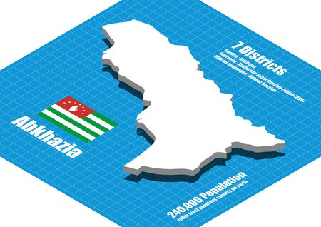 abkhazia: Abkhazia  map vector three dimensional