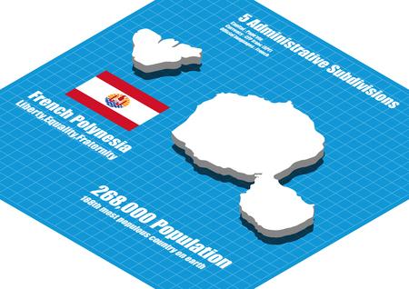 polynesia: French Polynesia  map vector three dimensional