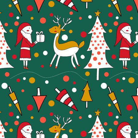 Seamless pattern with a Christmas tree, Santa and deer