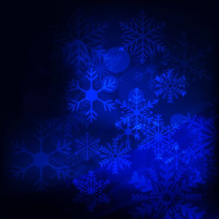 Abstract background with stars, snowflakes and blurry lights illustration Illustration
