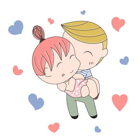 loving: Romantic concept. Loving boy and girl. Cute cartoon vector illustration Illustration
