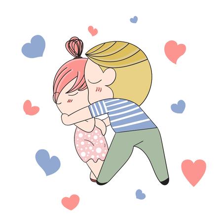 Romantic concept. Loving boy and girl. Cute cartoon vector illustration Illustration