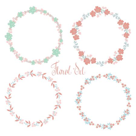 Vector floral frames set. Cute collection of wreaths made of hand drawn leaves and flowers