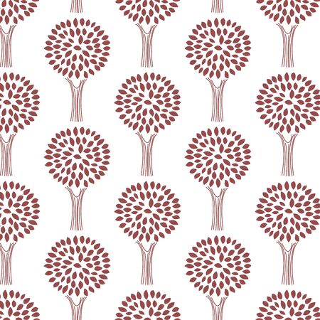Cute seamless pattern with various trees