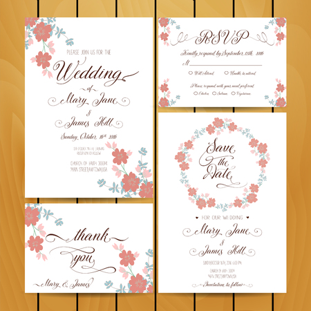 Floral vector card templates. Hand drawn design for Save The Date
