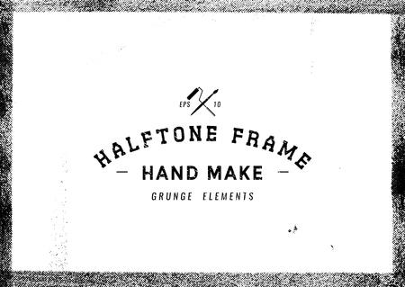 Grunge frame en demi-teinte texture, vecteur, Illustration