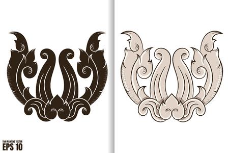 Thai painting style vector illustration