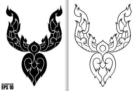 Thai Painting Style in black and white design Vector Illustration Vectores