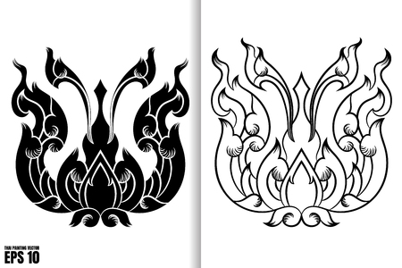 Thai Painting Style on black and white design, vector Illustration