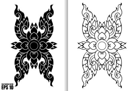 Thai Art Painting Style on black and white design Vector Illustration Vectores