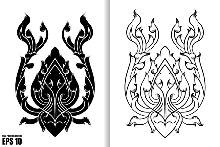 Thai Painting Style Vector Illustration on white background.