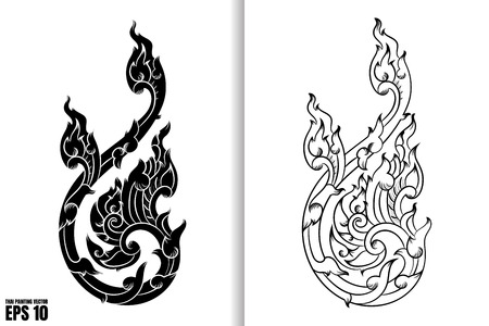 Thai Art Painting Style on black and white design Vector Illustration 일러스트