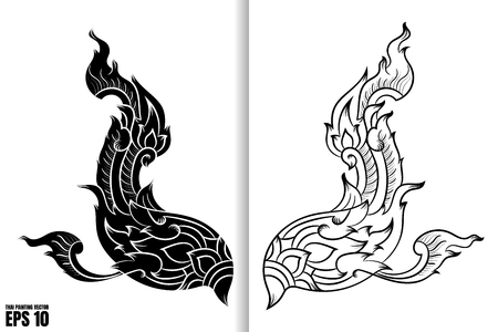 Thai Art Painting Style on black and white wing design Vector Illustration