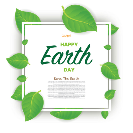 Earth day greeting card with green leaf