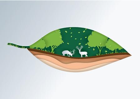 Go Green paper cut leaves vector concept art illustration
