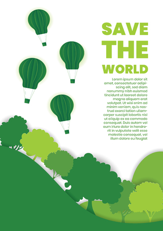 Green Eco energy concept. Hot air balloons on forest