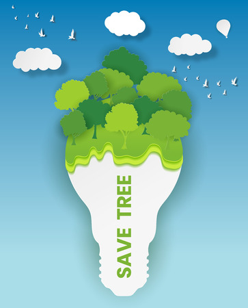Green Eco energy concept. Plant growing on the light bulb