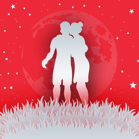 Couple in Love Concept of Valentine's day Vectores