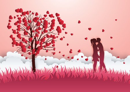 Concept of valentine day. Two enamored under a love tree in the spring season