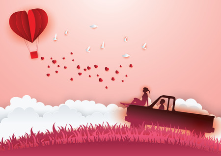 Illustration of Love and Valentine day. Paper heart shape balloon floating in the sky. Paper art and digital craft style Illustration