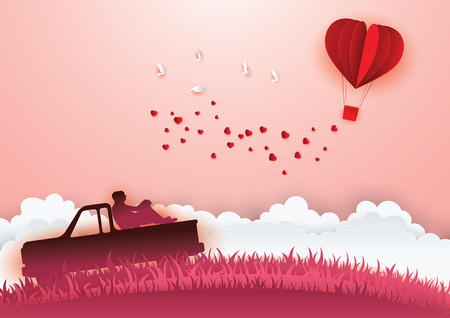 Illustration of Love and Valentine day. Paper heart shape balloon floating in the sky.