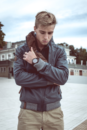 outdoor photo: Fashion outdoor photo of stylish handsome man