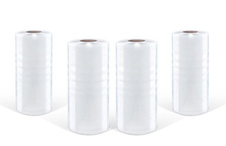 White stretch film at white background, isolated
