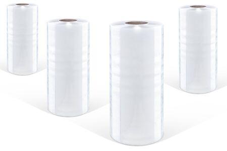 Weiße Stretchfolie auf weißem Hintergrund, isoliert Standard-Bild - 71291927