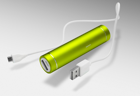 green power: Neon Green Power bank at white background isolated Stock Photo