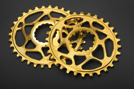 Golden oval bicycle chainring at gray background
