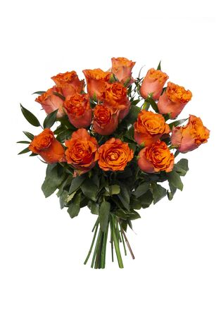 Beautiful bouquet of roses in basket isolated