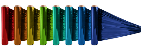 Colorful stretch film rolls at white background Stock Photo
