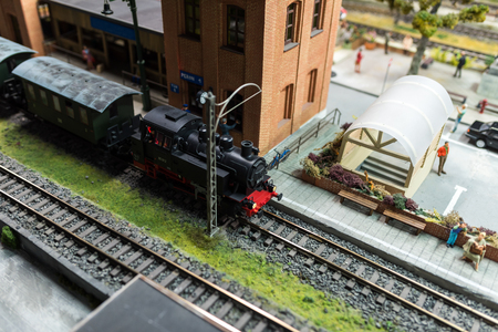 Close up of Miniature World, railway station and locomotive