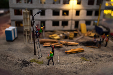 tourist site: Close up of Miniature world, Construction site at night