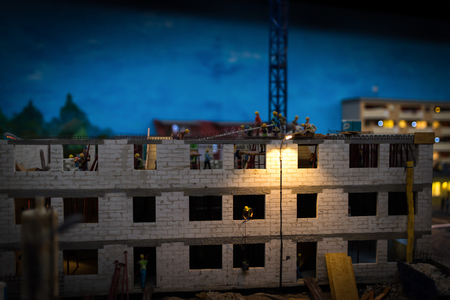 Close up of Miniature world, Construction site at night