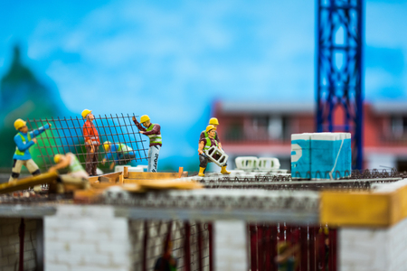 Close up of Miniature world, worker on the roof,