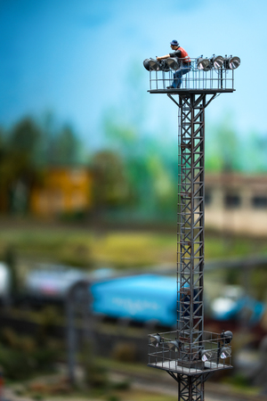Close up of Miniature world, man on the tower
